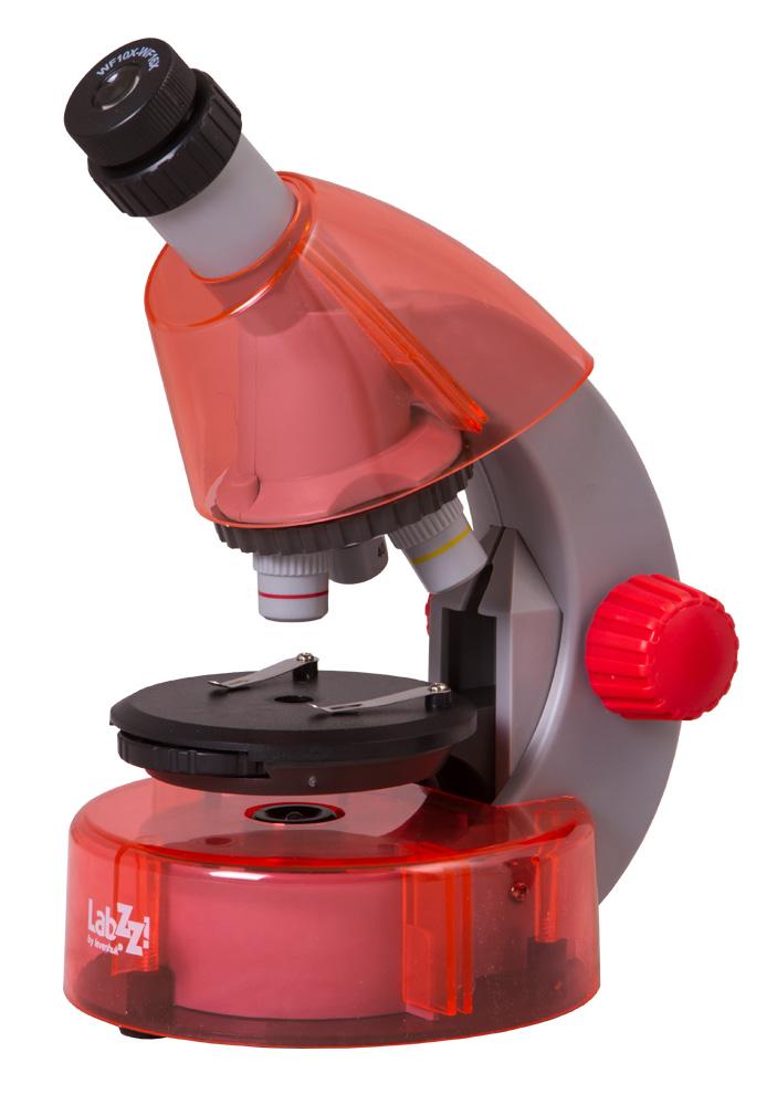 Mikroskop Levenhuk LabZZ M101 Orange\Pomeranč + Mikroskop + Objektivy: 4x, 10x, 40x + Okulár: WF10x–16x + Kulatý pracovní stolek se svorkami + Kotoučová clona + Vestavěné spodní osvětlení (LED) + 2 baterie AA + Experimentální sada Levenhuk K50 + Návod k p