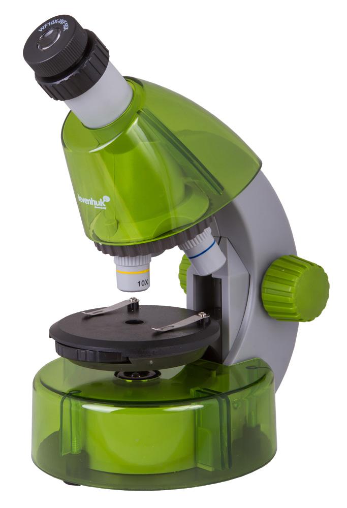 Mikroskop Levenhuk LabZZ M101 Lime\Limetka + Mikroskop + Objektivy: 4x, 10x, 40x + Okulár: WF10x–16x + Kulatý pracovní stolek se svorkami + Kotoučová clona + Vestavěné spodní osvětlení (LED) + 2 baterie AA + Experimentální sada Levenhuk K50 + Návod k použ