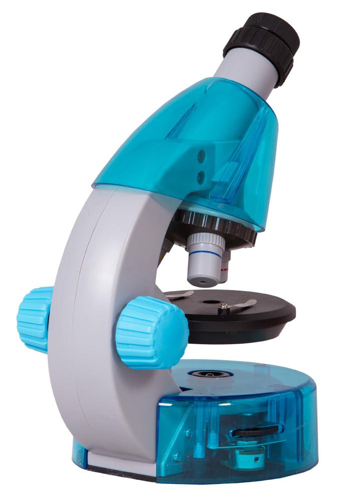 Mikroskop Levenhuk LabZZ M101 Azure\Azur + Mikroskop + Objektivy: 4x, 10x, 40x + Okulár: WF10x–16x + Kulatý pracovní stolek se svorkami + Kotoučová clona + Vestavěné spodní osvětlení (LED) + 2 baterie AA + Experimentální sada Levenhuk K50 + Návod k použit