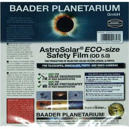 Sluneční filtr (fólie) Baader Planetarium AstroSolar 140x155mm ND 5.0 Vizual