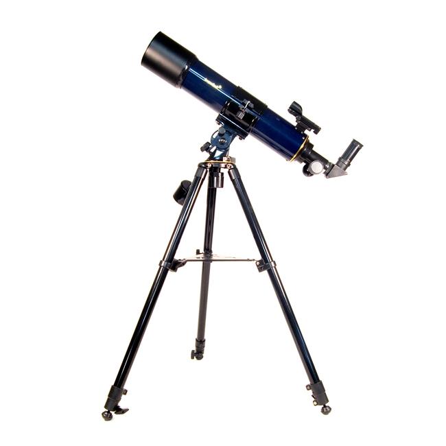 Hvězdářský dalekohled Levenhuk AC 90/600 Strike 90 PLUS AZ + Hlavní tubus teleskopu Strike PLUS na azimutální montáži. + Stativ z nerez oceli. + Plastový okulárový výtah 1.25''. + Okuláry: H20, F6mm. + Okulár se zoomem 6,521 mm. + Barlowova čočka: 3x zvět